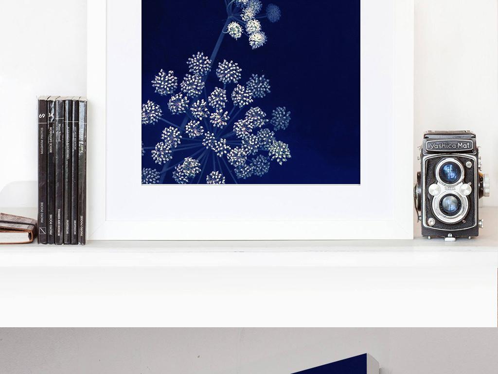 画卧室书房欧式美式挂画北欧有框画抽象蓝色背景抽象