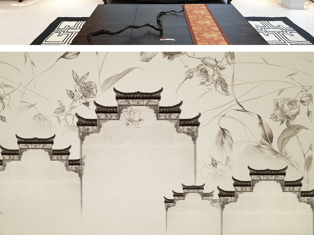 江南园林手绘壁纸