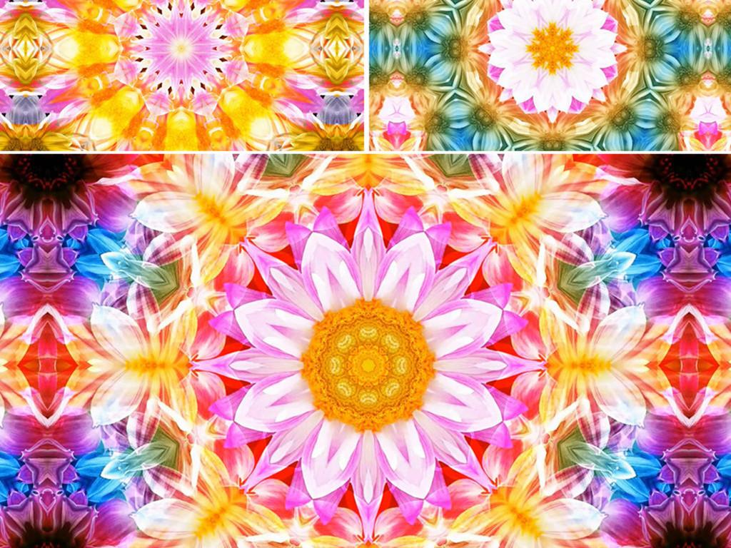 大气花朵图案旋转节奏变化VJ素材led背景万花筒