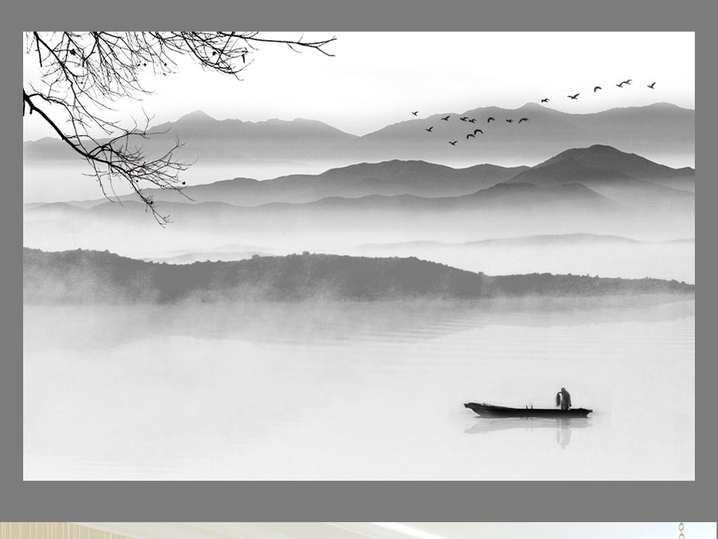 中国风禅意水墨山水画