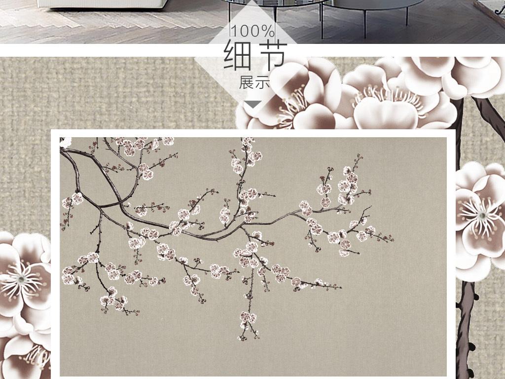 梅花手绘新中式工笔花鸟画梅花背景墙装饰画