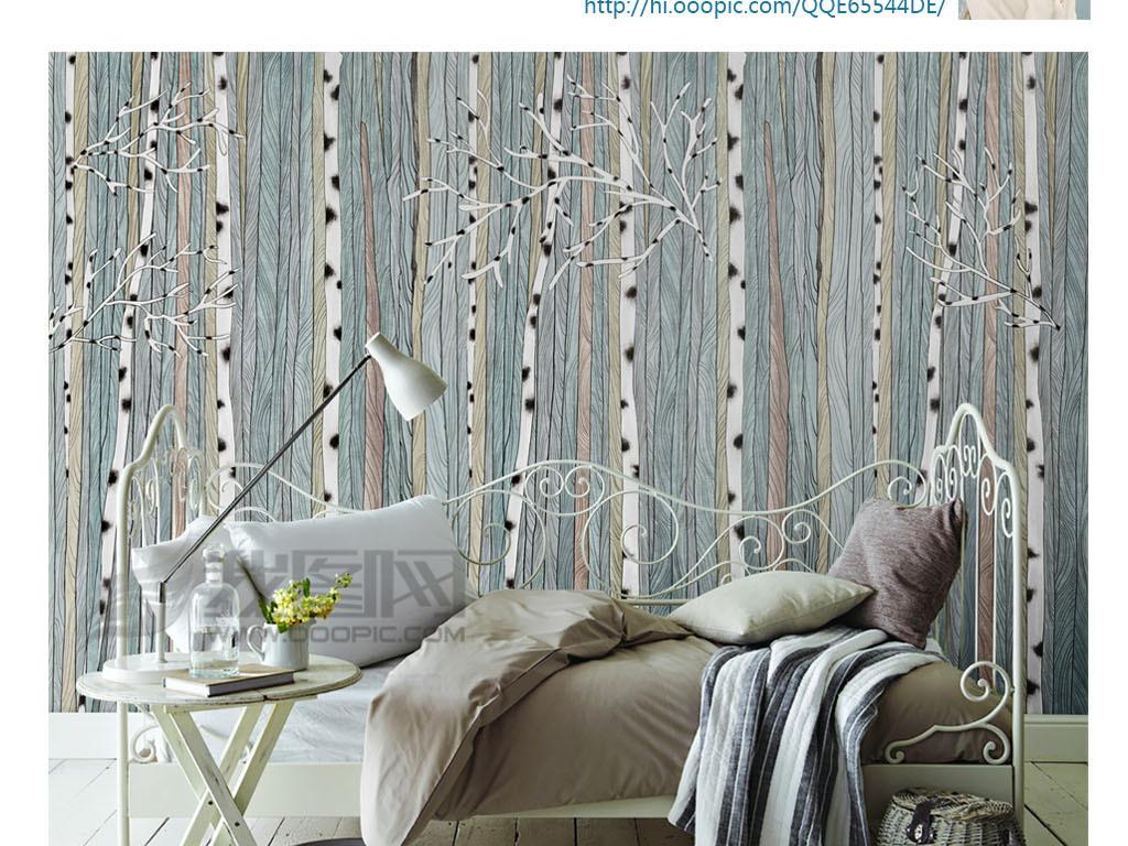 手绘北欧风格树林木纹背景墙装饰画图片