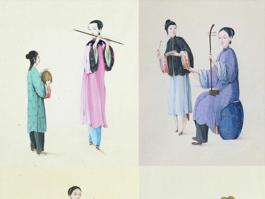 手绘插画设计素材清代人物清代素材人物素材古典国画中国风绘画手绘人