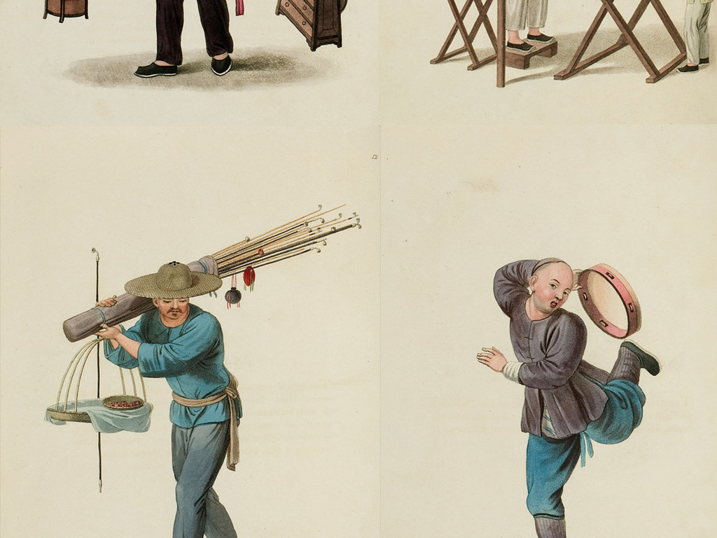 中国清代彩绘人物复古手绘插画设计素材