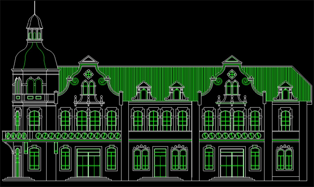 雕刻花纹建筑图纸外观建筑欧式建筑cad图纸欧式建筑设计图建筑外观
