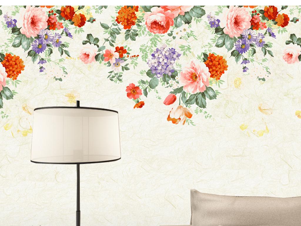 复古手绘花卉背景墙(图片编号:16030924)_欧式电视墙图片