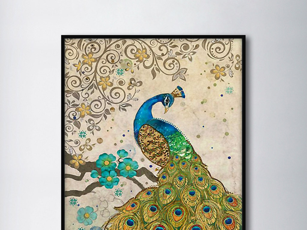 优雅孔雀图东南亚风格手绘室内客厅装饰画