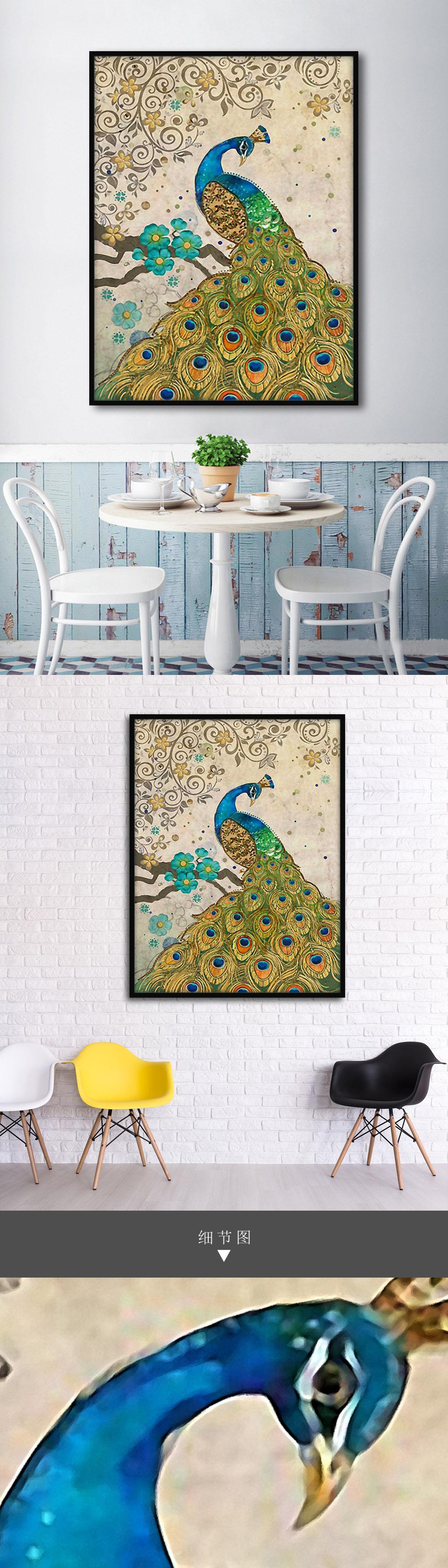 优雅孔雀图东南亚风格手绘室内客厅装.