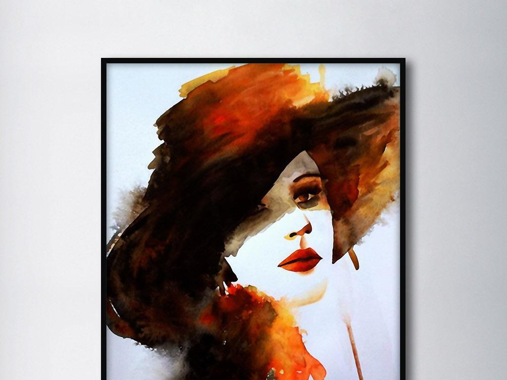 欧式美女人物画像酒吧酒店室内客厅装饰画