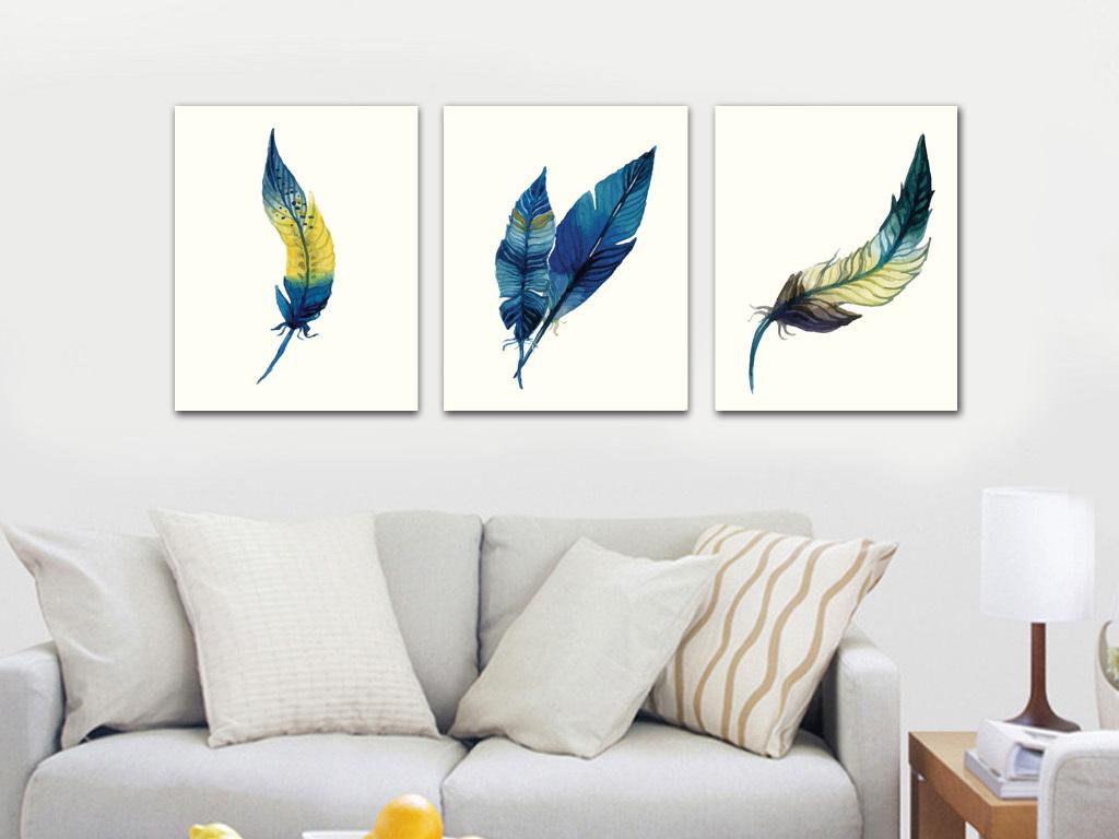 北欧简约水彩手绘羽毛装饰画