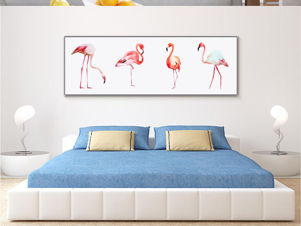 北欧简约手绘水彩火烈鸟装饰画