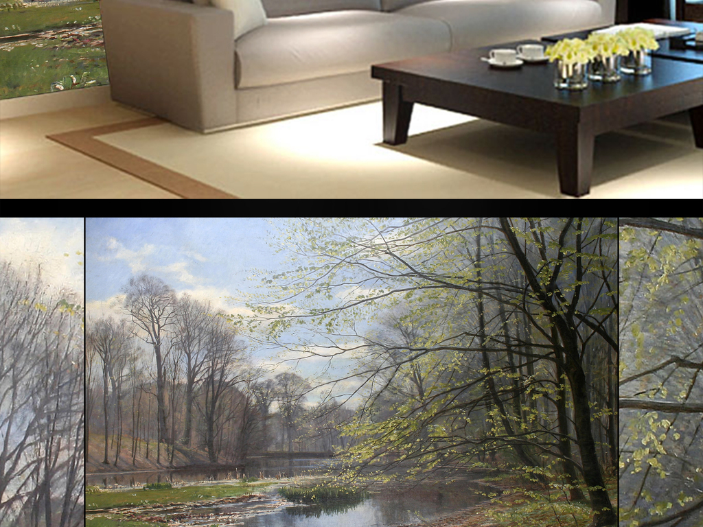 欧式手绘森林田园风景油画电视背景墙