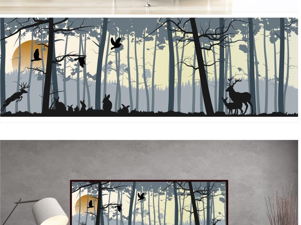 北欧风格手绘日落森林麋鹿卧室装饰挂画