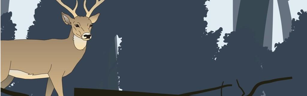 北欧风格手绘森林麋鹿日落高清装饰挂画