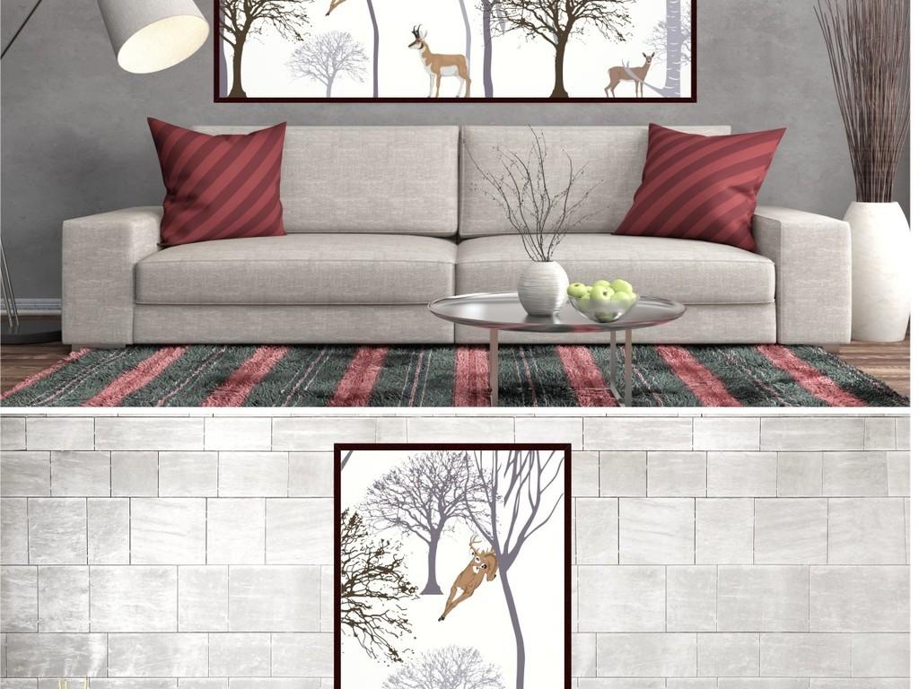 北欧风格手绘森林麋鹿装饰无框挂画