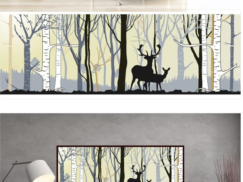 北欧无框画麋鹿森林手绘装饰挂画