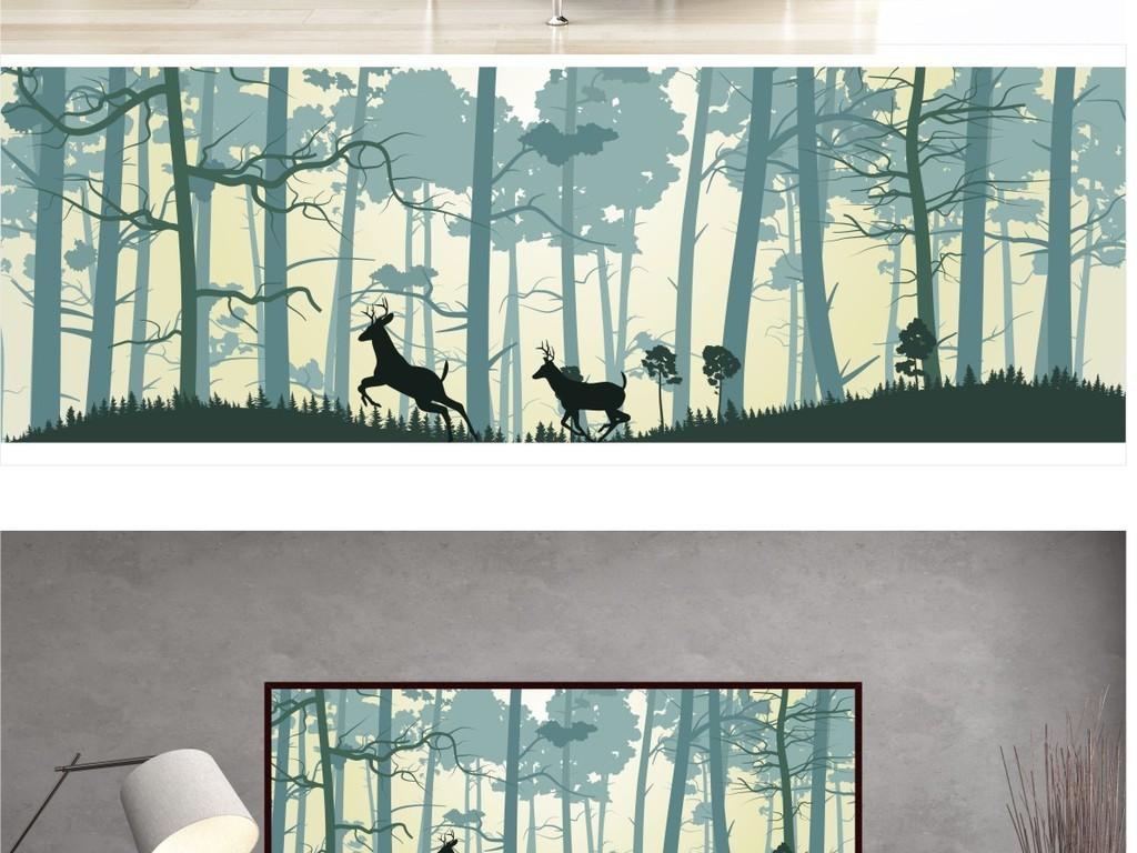 复古怀旧森林麋鹿沙发背景墙装饰画
