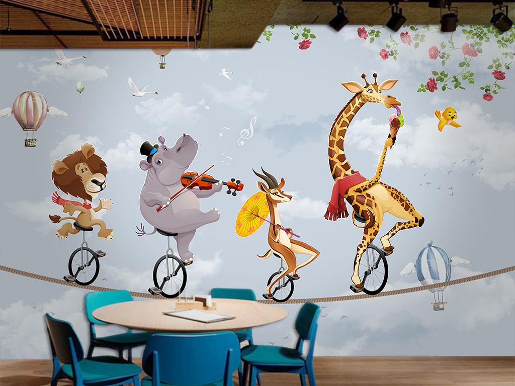 卡通动物热气球背景墙图片