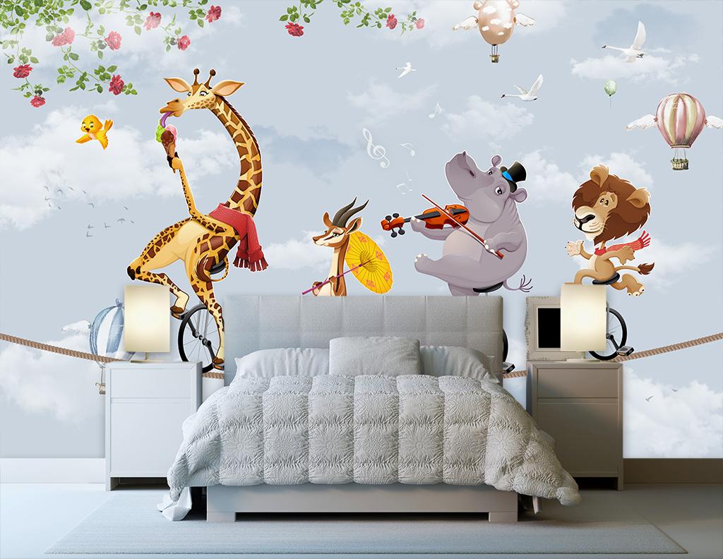 卡通动物热气球背景墙