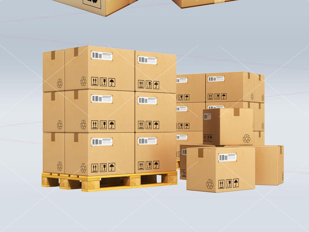 纸箱包装箱牛皮纸快递仓库搬运装卸配送素材