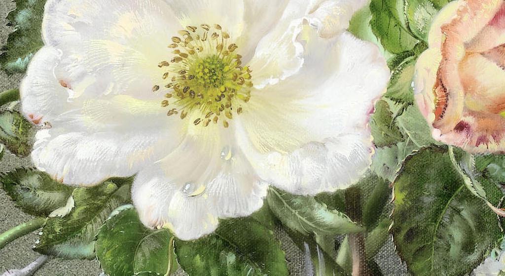 欧式手绘油画花朵无框画
