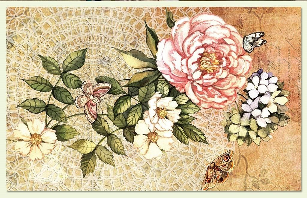 墙纸素材花卉蝴蝶复古背景美式风格电视背景复古花卉复古美式花卉背景图片