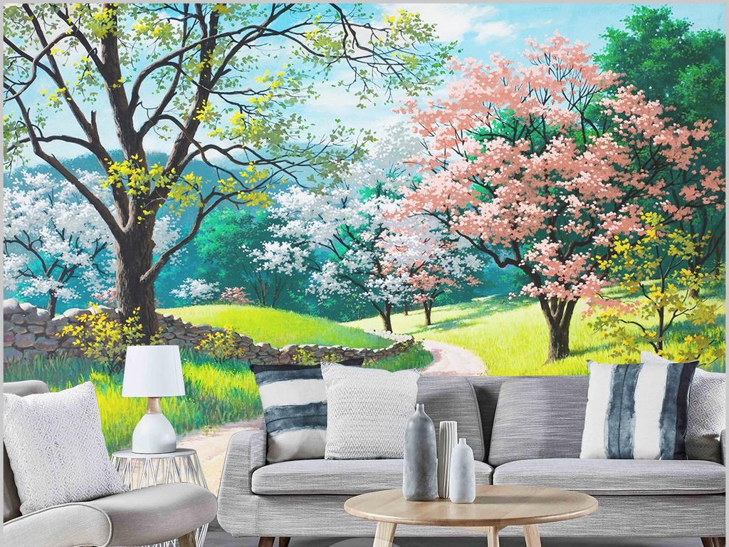 手绘唯美色彩树林风景油画壁画卧室背景墙