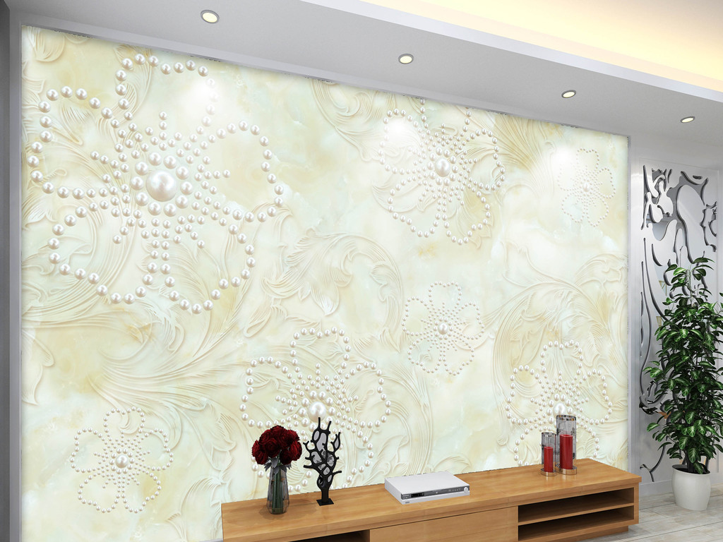 欧式花朵3d立体电视背景墙素材