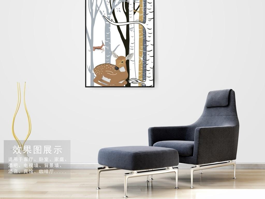 北欧风格手绘麋鹿长颈鹿森林装饰挂画图片设计素材_(5