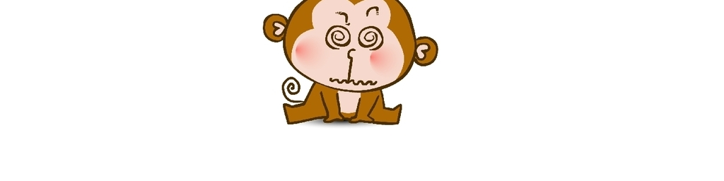 手绘矢量图卡通物造型q版小猴子红脸蛋可爱