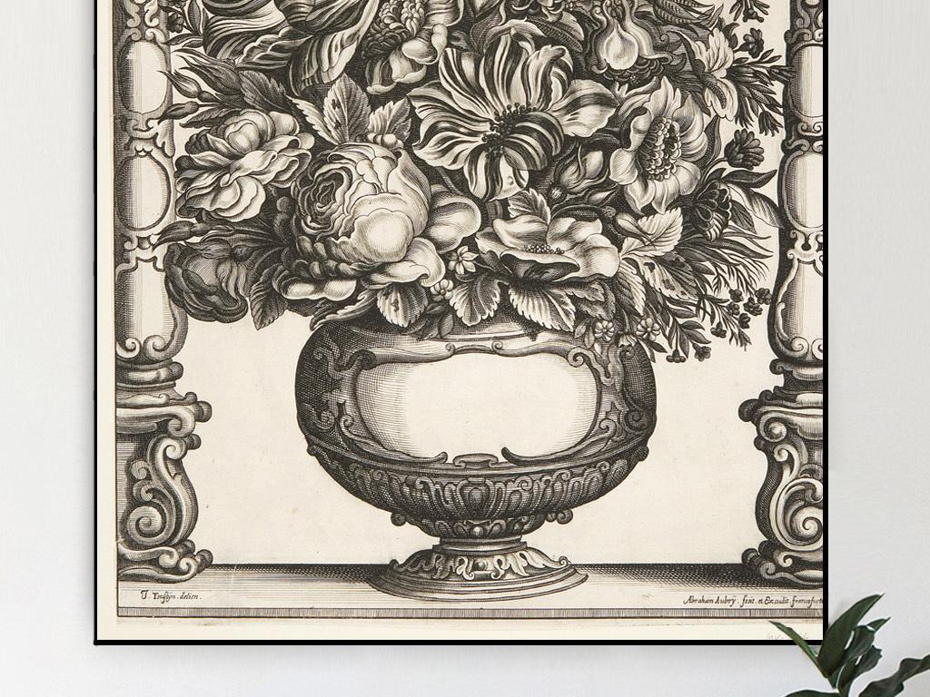 古典花卉素描高清黑白客厅装饰画