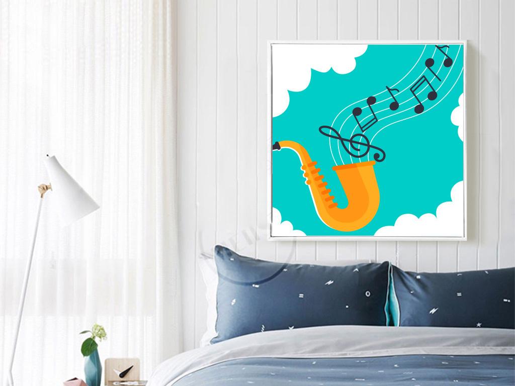 背景墙|装饰画 无框画 卡通动漫无框画 > 卡通萨克斯音乐元素儿童房
