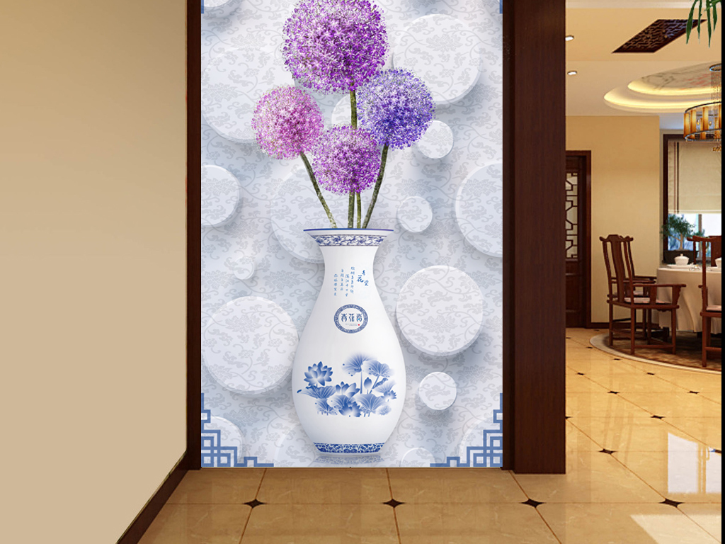 瓶中式玄关欧式玄关玄关背景墙玄关背景壁画家和富贵