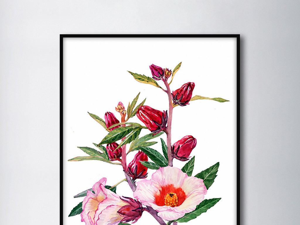 洛神花诗意欧式手绘花卉现代新中式装饰画图片