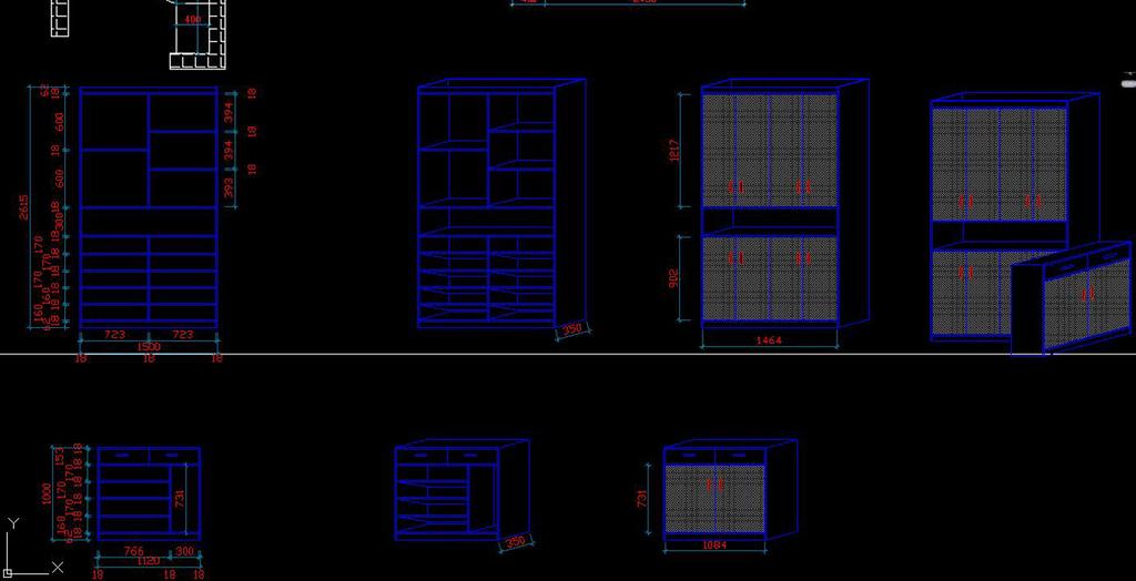 cad柜子设计施工图立面图柜子设计图纸