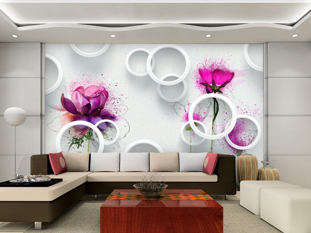 简约现代3d立体玫瑰手绘背景墙