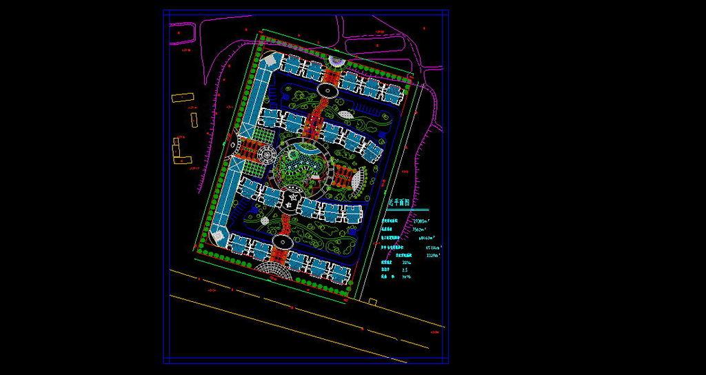 小区CAD总平面图图片