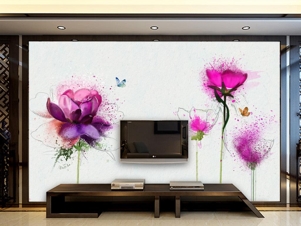 现代简约玫瑰手绘背景墙客厅电视墙背景