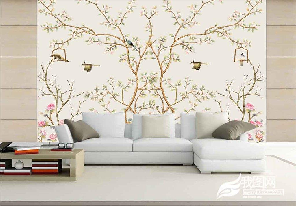 现代简约手绘工笔花鸟中式电视背景墙壁画图片设计_(.图片