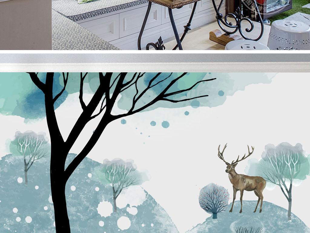 背景墙|装饰画 电视背景墙 手绘电视背景墙 > 北欧水彩麋鹿小山小鹿