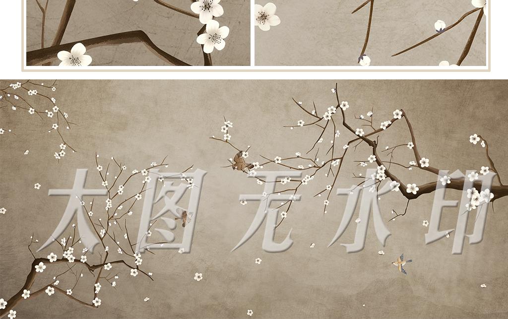 中式梅花手绘工笔花鸟背景墙装饰画