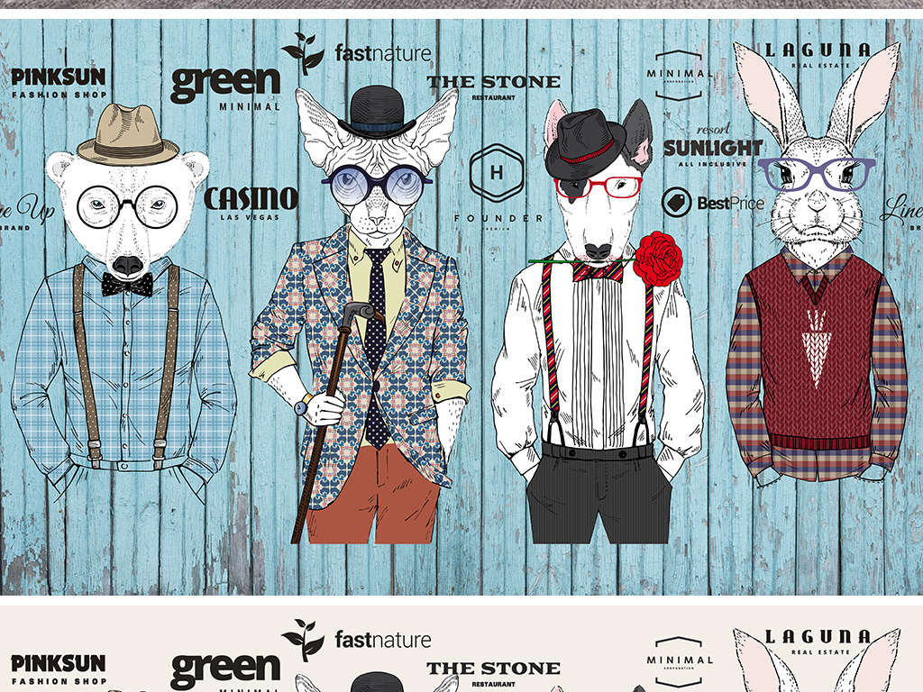 背景墙|装饰画 工装背景墙 卖场|服装店背景墙 > 时尚动物模特男士图片