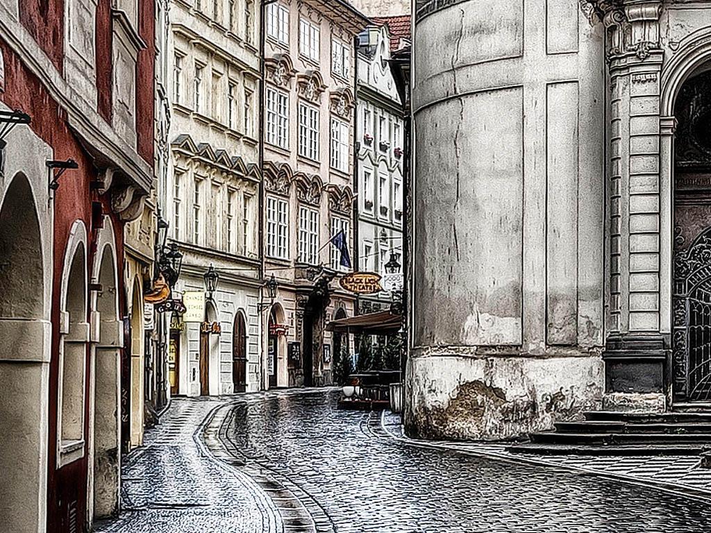 小巷复古欧式楼房路灯景点旅游高清街道高清装饰画法国古老法国建筑建图片