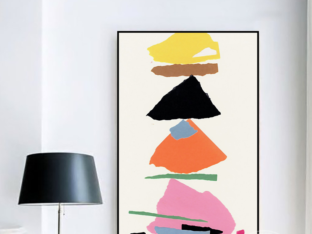 简约橙灰黑棕色色块涂鸦抽象手绘无框装饰画