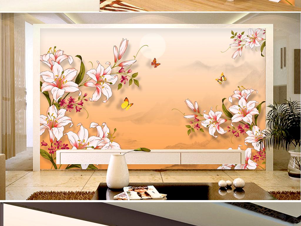 电视背景墙 手绘电视背景墙 > 手绘玉兰花素雅山水风景画