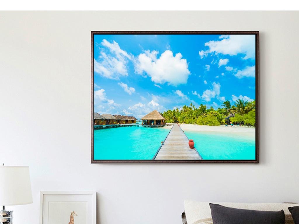 背景墙|装饰画 无框画 风景无框画 > 东南亚风景摄影海岛房子大海海洋