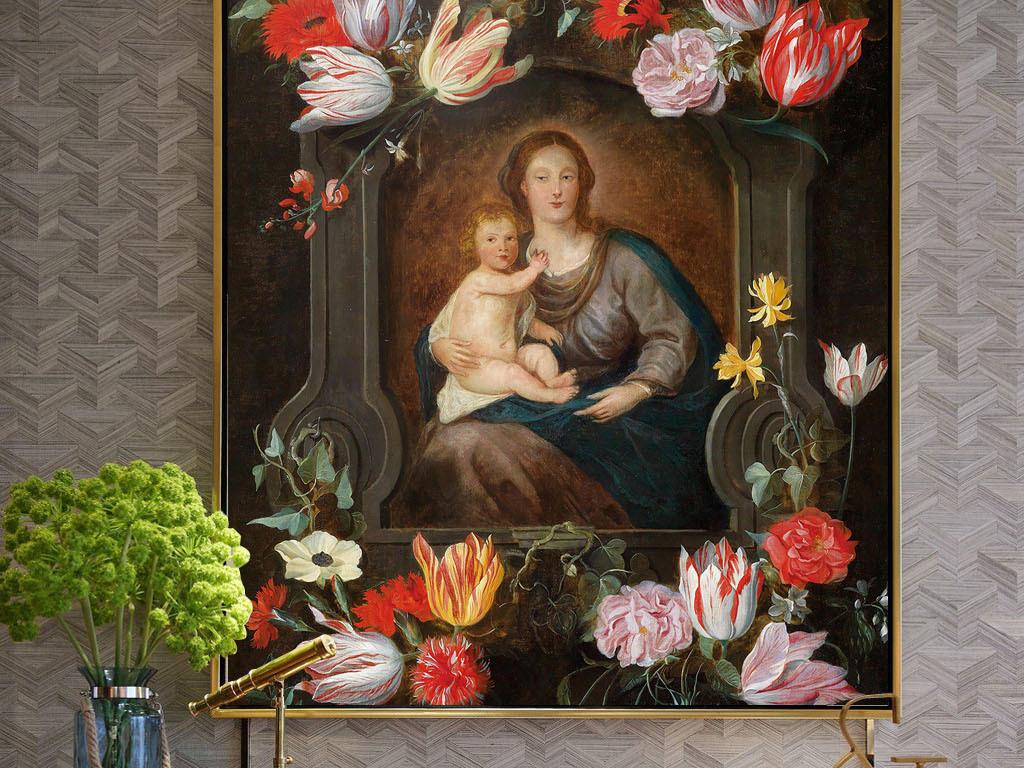欧式风格手绘油画花朵人物婴儿无框画