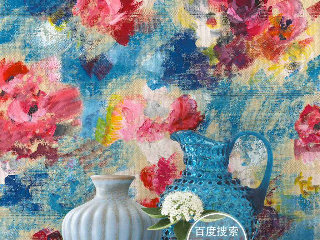 时尚个性抽象手绘玫瑰花卉墙纸壁画背景墙