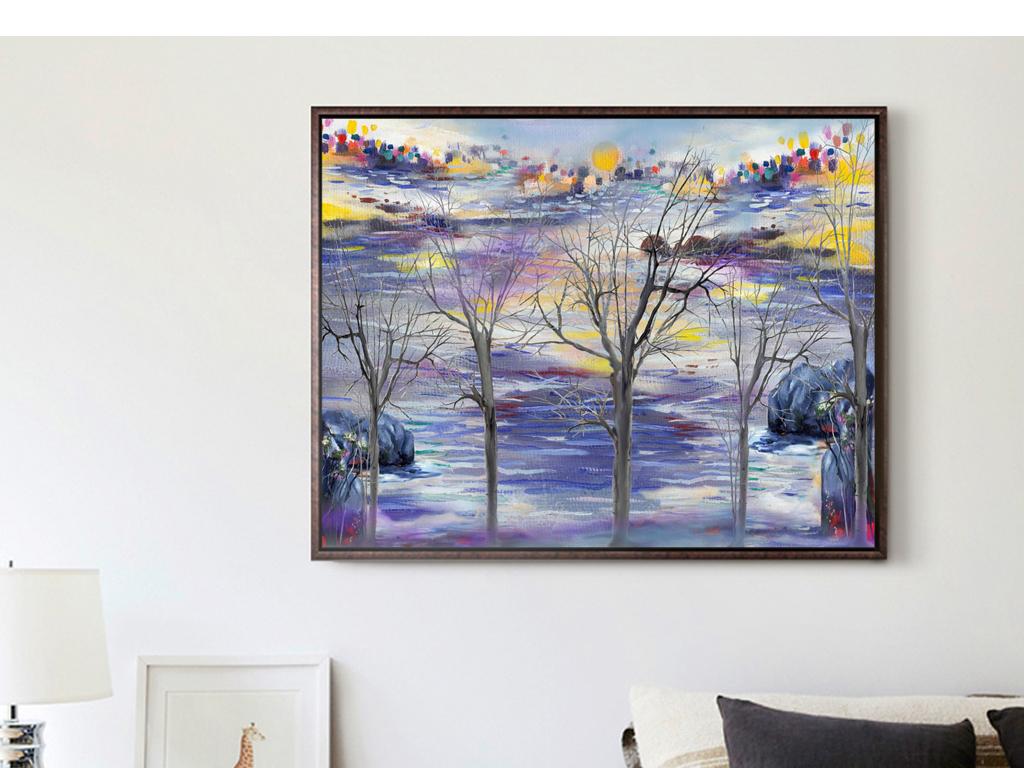 巨幅手绘油画风景什么简约现代装饰画