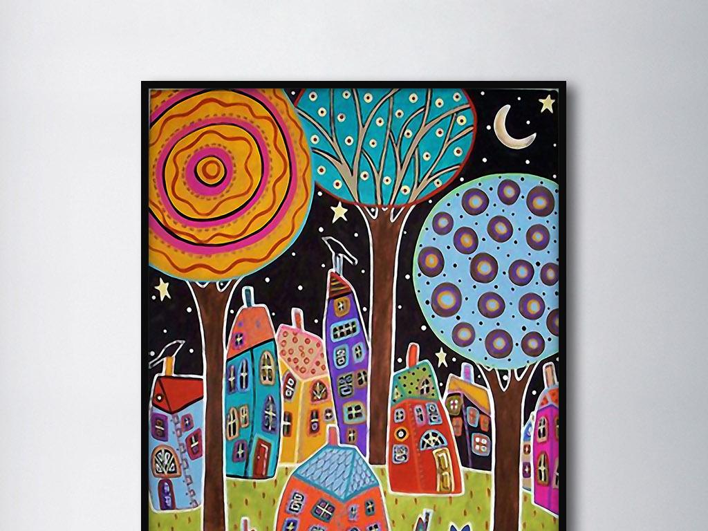 晴朗夏月夜欧式现代手绘童年彩色室内装饰画